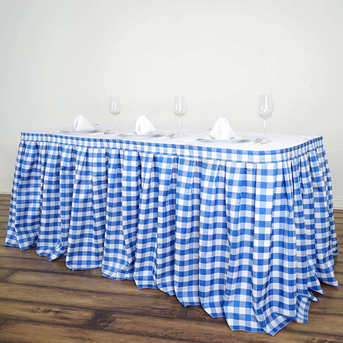 14FT White/Blue Checkered Gingham Polyester Table Skirt