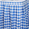 21FT Checkered Gingham Polyester Table Skirt - White/Blue
