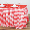 14FT Checkered Gingham Polyester Table Skirt - White/Red
