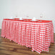 Checkered Table Skirt | 14FT | White/Red | Buffalo Plaid Gingham Polyester Table Skirts