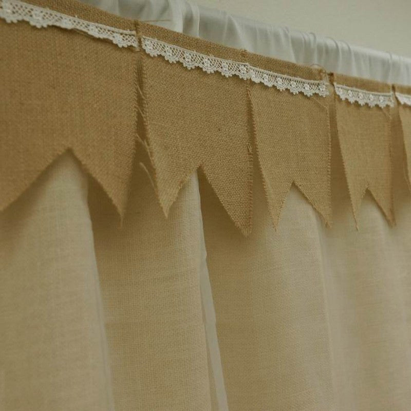 14FT Burlap Pennant Banner w/ Lace Trimmings - Natural
