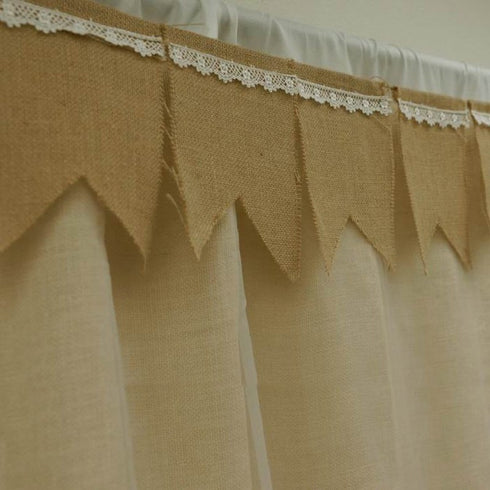 14FT Tone Jute Burlap Pennant Banner With Lace Trimmings - Natural
