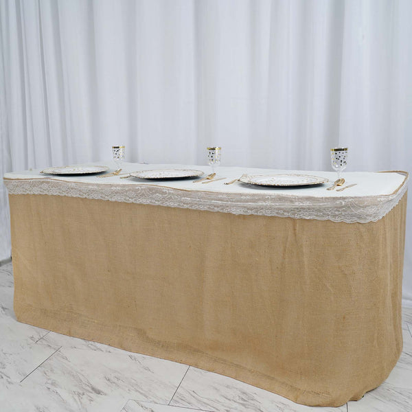 21ft Natural Jute Burlap Table Skirt Outdoor Party
