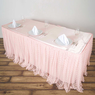 14FT Blush Premium Pleated Lace Table Skirt