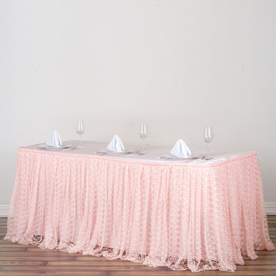 17FT Blush Premium Pleated Lace Table Skirt