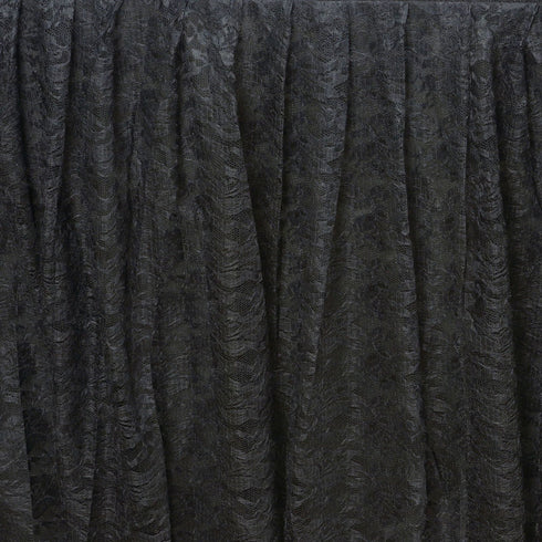14FT BLACK Premium Wholesale Polyester Lace Table Skirt For Wedding Banquet Restaurant