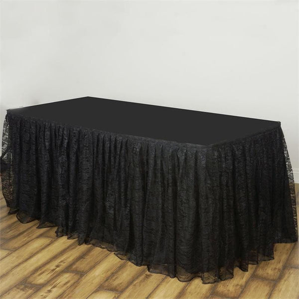 14FT Black Premium Pleated Lace Table Skirt
