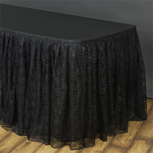 17FT BLACK Premium Wholesale Polyester Lace Table Skirt For Wedding Banquet Restaurant