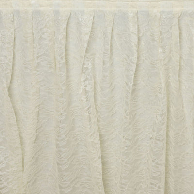 14FT IVORY Premium Wholesale Polyester Lace Table Skirt For Wedding Banquet Restaurant