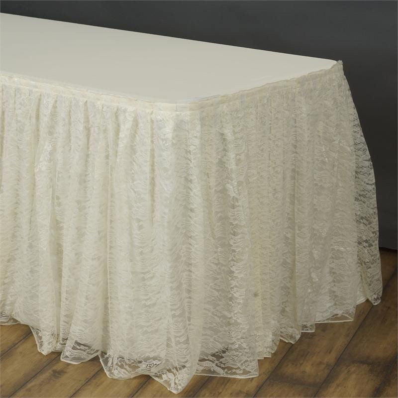 ... 17FT IVORY Premium Wholesale Polyester Lace Table Skirt For Wedding  Banquet Restaurant ...