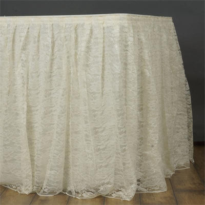 21FT IVORY Premium Wholesale Polyester Lace Table Skirt For Wedding Banquet Restaurant