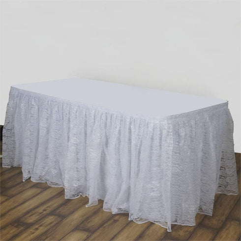 14FT WHITE Premium Wholesale Polyester Lace Table Skirt For Wedding Banquet Restaurant