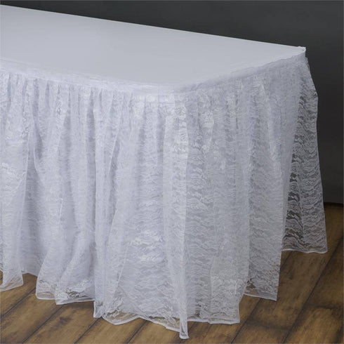 17FT WHITE Premium Wholesale Polyester Lace Table Skirt For Wedding Banquet Restaurant