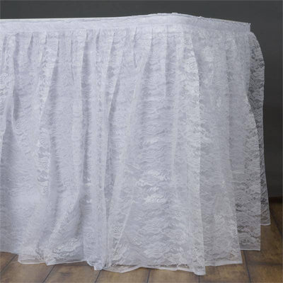 89dfaf9148 21FT WHITE Premium Wholesale Polyester Lace Table Skirt For Wedding Banquet  Restaurant