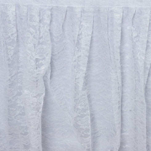 21FT WHITE Premium Wholesale Polyester Lace Table Skirt For Wedding Banquet Restaurant