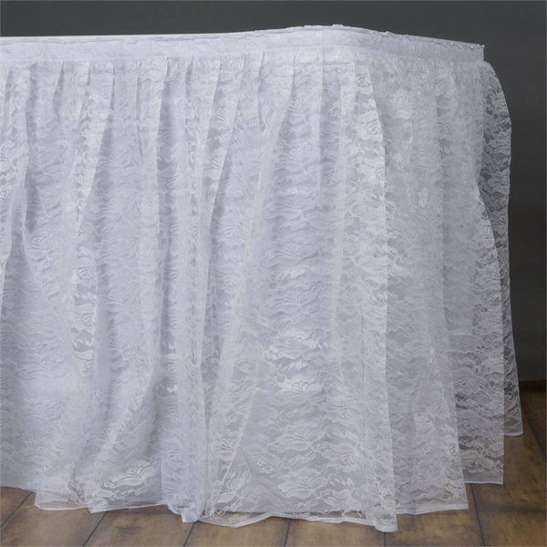 21FT White Premium Pleated Lace Table Skirt