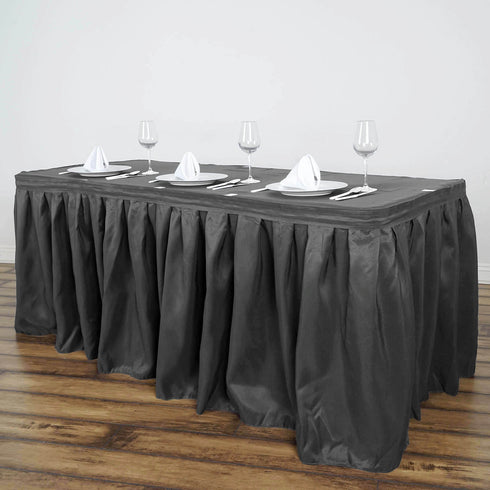 14FT Charcoal Grey Pleated Polyester Table Skirt