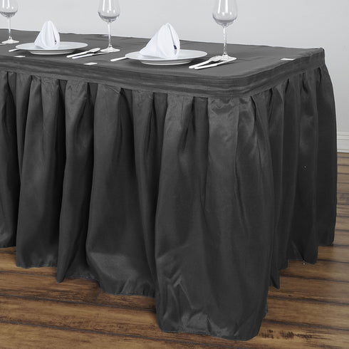 17FT Charcoal Grey Pleated Polyester Table Skirt