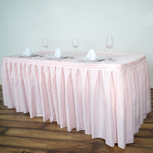 14FT Pleated Polyester Table Skirt - Rose Gold | Blush