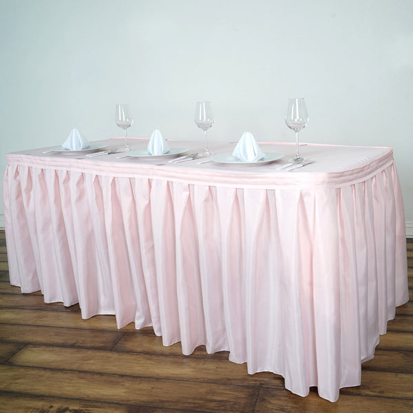 14FT Rose Gold | Blush Pleated Polyester Table Skirt