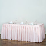 17FT Pleated Polyester Table Skirt - Rose Gold | Blush