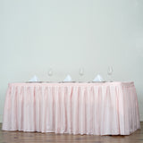 21FT Pleated Polyester Table Skirt - Rose Gold | Blush