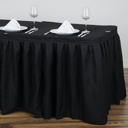 21FT Pleated Polyester Table Skirt - Black