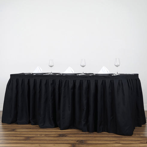 21FT Wholesale Black Pleated Polyester Table Skirt For Wedding Party Event