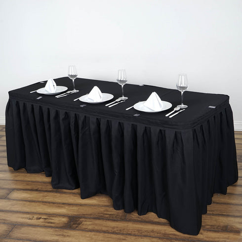 21FT Black Pleated Polyester Table Skirt