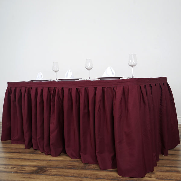 17FT Burgundy Pleated Polyester Table Skirt