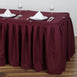 21FT Pleated Polyester Table Skirt - Burgundy