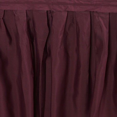 21FT BURGUNDY Wholesale Polyester Table Skirt For Wedding Banquet Restaurant
