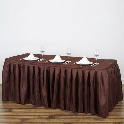17FT Pleated Polyester Table Skirt - Chocolate