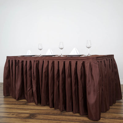 17FT Chocolate Pleated Polyester Table Skirt