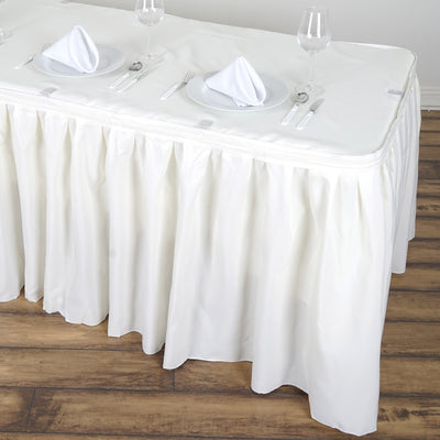 14FT Pleated Polyester Table Skirt - Ivory