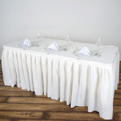14FT Ivory Pleated Polyester Table Skirt