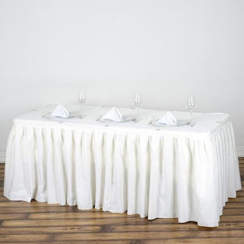 17FT Pleated Polyester Table Skirt - Ivory