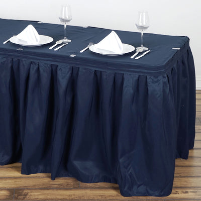 14FT Pleated Polyester Table Skirt - Navy Blue
