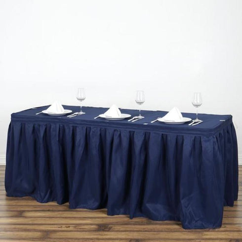 17FT Pleated Polyester Table Skirt - Navy Blue
