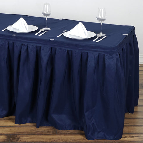 21FT Pleated Polyester Table Skirt - Navy Blue