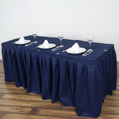 21FT Navy Blue Pleated Polyester Table Skirt