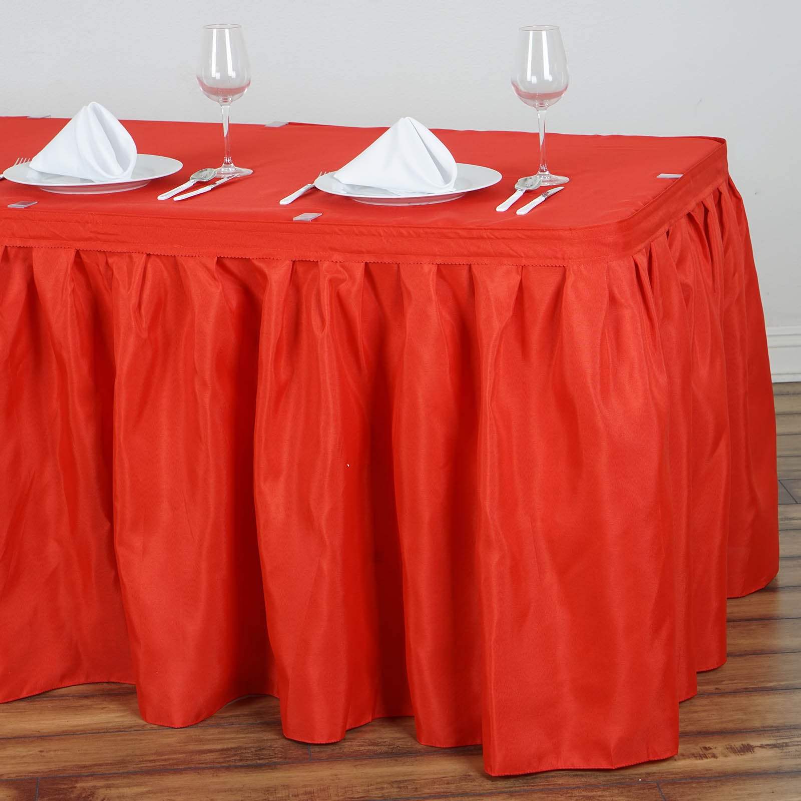 8e9c5f600f 14FT Red Pleated Polyester Table Skirt | eFavorMart