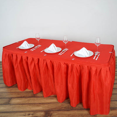 14FT Red Pleated Polyester Table Skirt