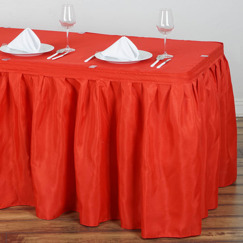 17FT Pleated Polyester Table Skirt - Red