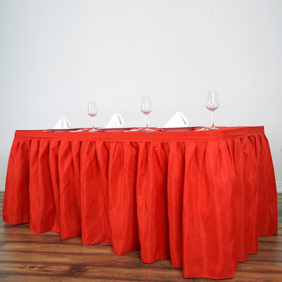 17FT Red Pleated Polyester Table Skirt