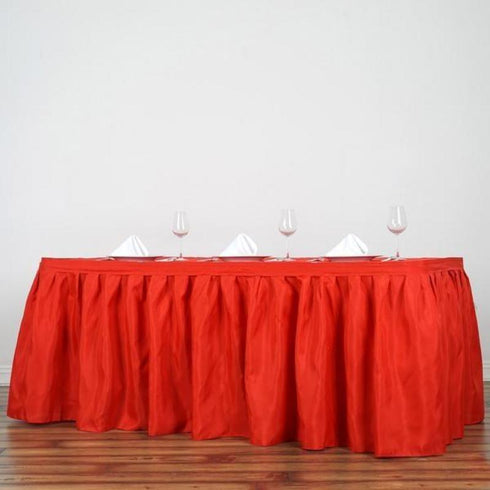 21FT Pleated Polyester Table Skirt - Red