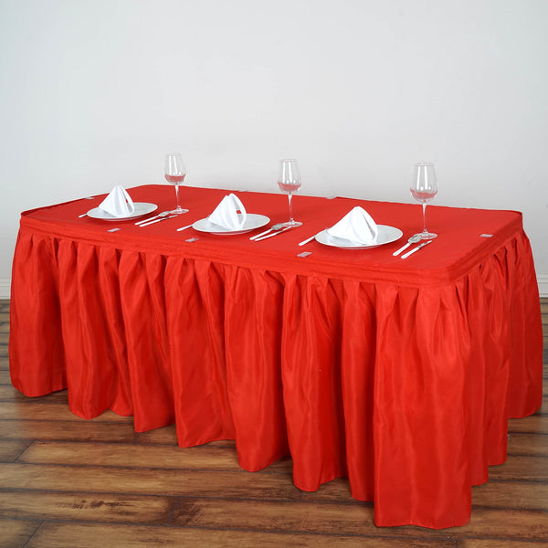 21FT Red Pleated Polyester Table Skirt