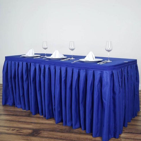 14FT Pleated Polyester Table Skirt - Royal Blue
