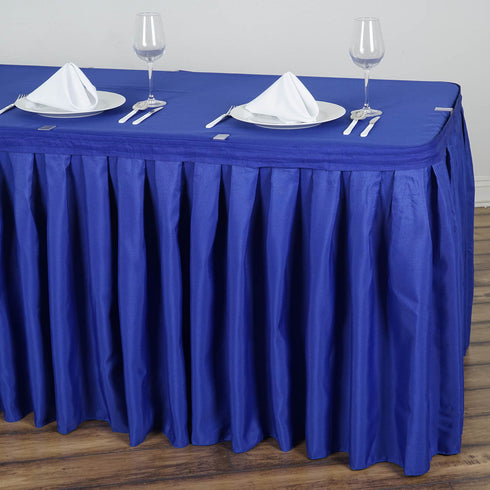 17FT Pleated Polyester Table Skirt - Royal Blue