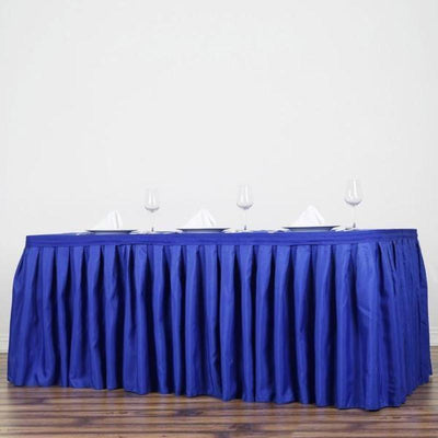 21FT Pleated Polyester Table Skirt - Royal Blue